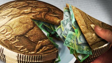 colour cartoon/illo/illustration/toon/art work Australian dollar gold coins, sandwiched, with a piece cut out, dollar bills in the middle. Colour Illustration / cartoon by Karl Hilzinger For AFR Portfolio Sally Patten 4th November 2007 NOTE: THIS IMAGE HAS BEEN DIGITALLY MANIPULATED Slice of the money pie AUSTRALIAN, AUSTRALIA NOTES AND COINS