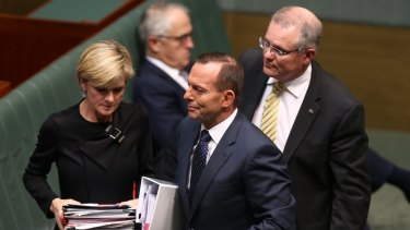 Leadership rivals: Prime Minister Tony Abbott with cabinet ministers Julie Bishop, Malcolm Turnbull and Scott Morrison in Parliament last week.