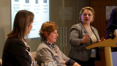 Sophie Mirabella addresses the University of Melbourne event on Wednesday evening.