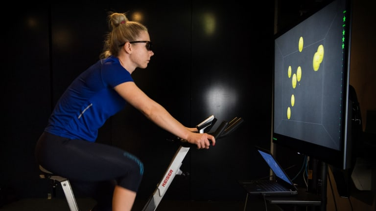 Decision-making aid: Kaarle McCulloch demonstrates the NeuroTracker.
