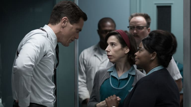 Michael Shannon, left,  Sally Hawkins and Octavia Spencer in The Shape of Water.