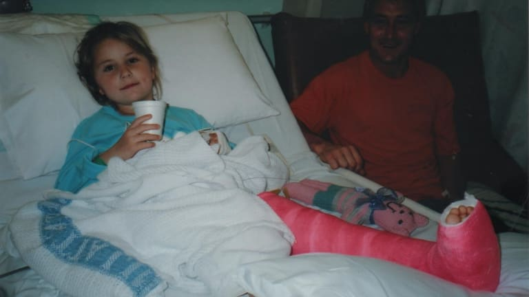 Paralympic discus and javelin thrower Rae Anderson as a child, after having surgery to straighten her left leg.