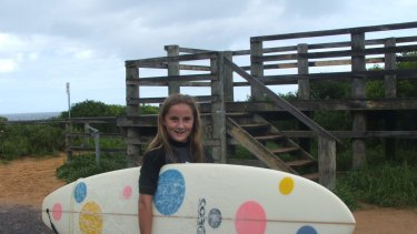 Rae Anderson heads off surfing in her younger days.