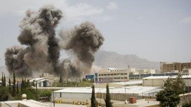 Smoke billows from an air strike on Sanaa this week.