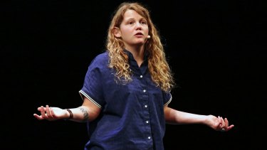 Kate Tempest gives the opening address of the Sydney Writers Festival on Tuesday.