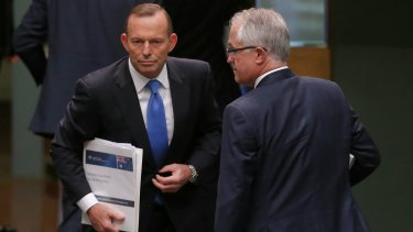 Crossing paths: Tony Abbott and Malcolm Turnbull.