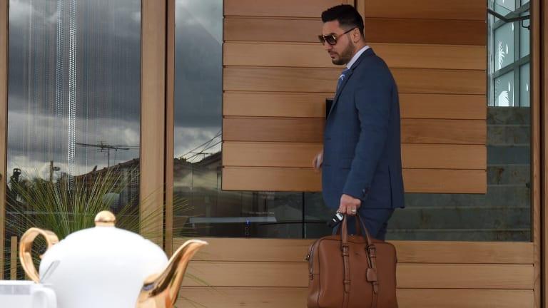 Salim Mehajer leaves his Lidcombe home.