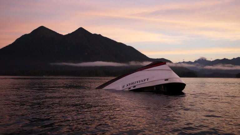 The bow of the Leviathan II, a whale-watching boat that capsized.