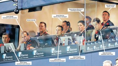 Inside the coaches' box.