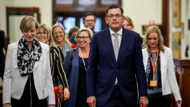 Victorian Premier Daniel Andrews and Minister for the Prevention of Family Violence Fiona Richardson at the release of the Royal Commission report at Parliament House.