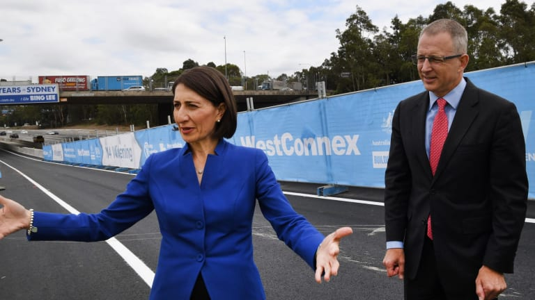 NSW Premier Gladys Berejiklian and federal Urban Infrastructure Minister Paul Fletcher at the opening of the so-called G-Loop at Homebush.
