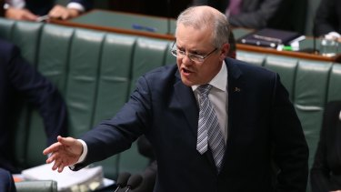 Treasurer Scott Morrison during question time on Monday.