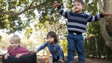 Charlie Ferrarin, Ollie Wei, and Harry King at Gowrie NSW Early Education and Care centre in Erskineville.