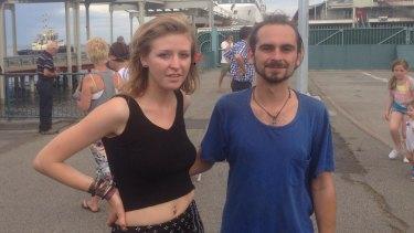 Stranded: tourists Nicoles Nouchet and Tove Lundin Wallengren.