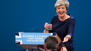 Still recovering from her speech: Theresa May, UK prime minister