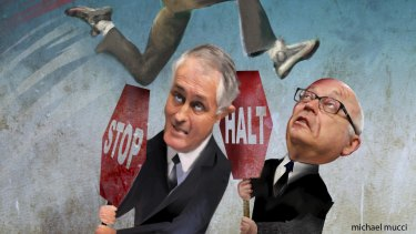Blockers: Attorney-General George Brandis and Communications Minister Malcolm Turnbull will soon present cabinet with a proposal to tackle online piracy. <i>Illustration: michaelmucci.com</i>