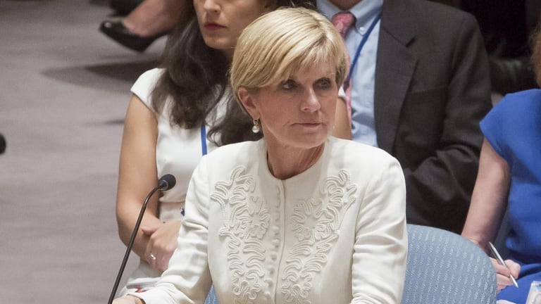 Australian Foreign Minister Julie Bishop, pictured last month, says she will raise concerns about rising tensions in the South China Sea.