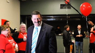 Claiming it: Candidate for Eden-Monaro Mike Kelly arrives at the Queanbeyan Leagues Club.