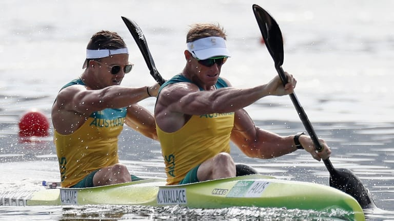 On the podium: Ken Wallace (right) and Lachlan Tame of Australia.