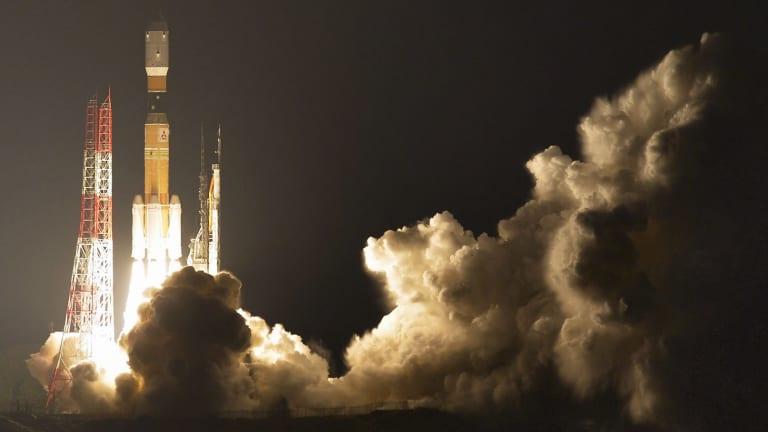Japan's H-IIB rocket lifts off at the Tanegashima Space Centre southern Japan at 12.26am Saturday, Sydney time.