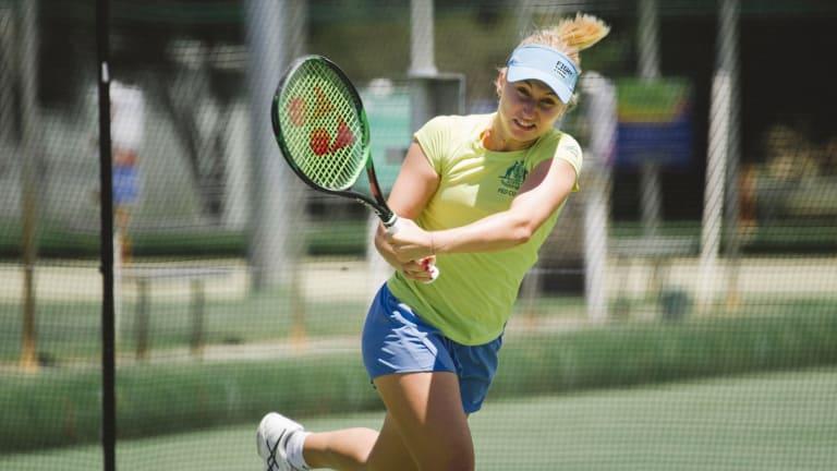 Daria Gavrilova practises in Canberra on Monday.