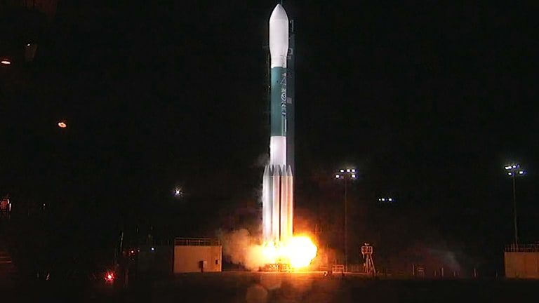 A still from the video of the rocket launching.