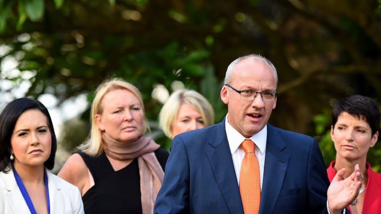 NSW Opposition Leader Luke Foley  flanked by, from left,  Pru Car, Lynda Voltz, Yasmin Catley  and Kate Washington  in the Royal Botanic Gardens in Sydney to announce his new opposition shadow ministry on Thursday.