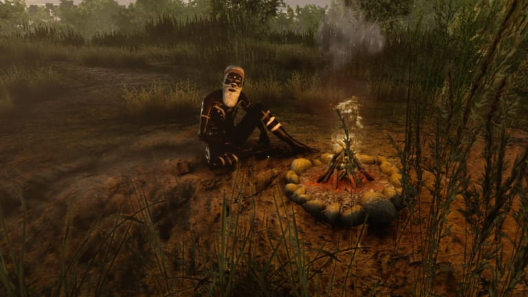 An elder at Wimmera Camp. A still from VR game Virtual Songlines.