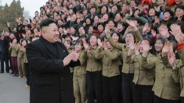 North Korean leader Kim Jong-un at a textile mill in Pyongyang.