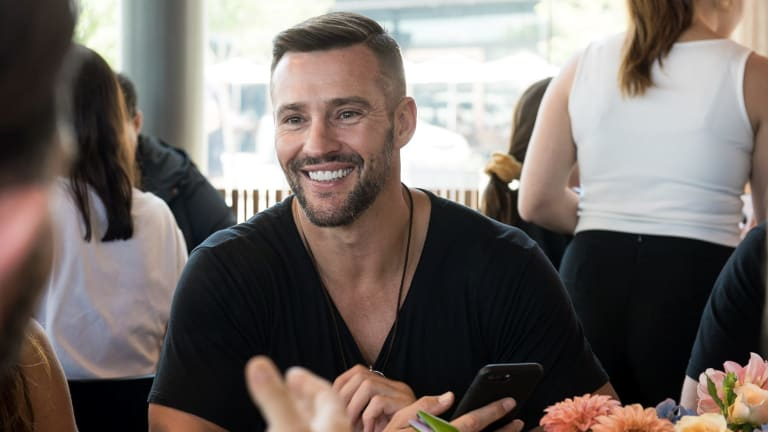 Kris Smith at Sunglass Hut's Valentine's Day lunch at Cirrus Dining in Barangaroo on Tuesday.