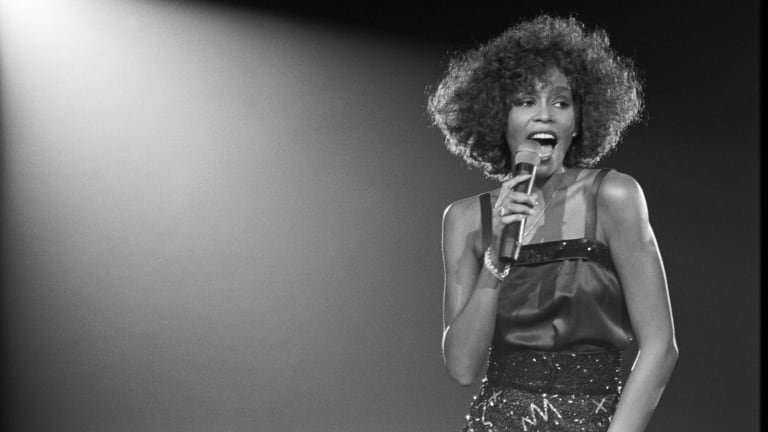 Whitney Houston performing on stage in 2005. Her struggle with drugs is explored in the new documentary <i> Whitney: Can I Be Me</i>.