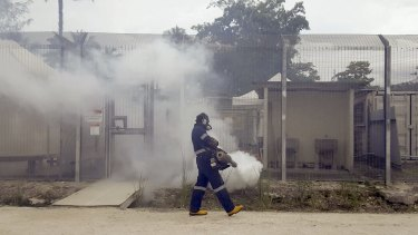 Fumigation at the Manus Island detention centre, from the film