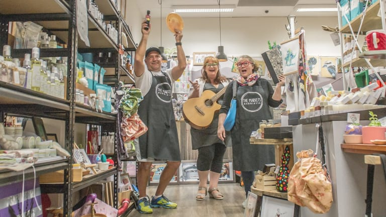 """The Markets Wanniassa founders James and Fiona Lester with Gabby Millgate (middle). They are gearing up for the markets' first birthday celebrations on Saturday. """"We're celebrating in thanks of every person who has stepped through our doors— as a browser, shopper, or stockist,'' Fiona said."""