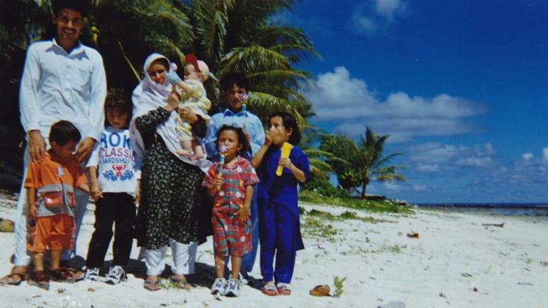 Mr Baqiri and his family on Nauru.