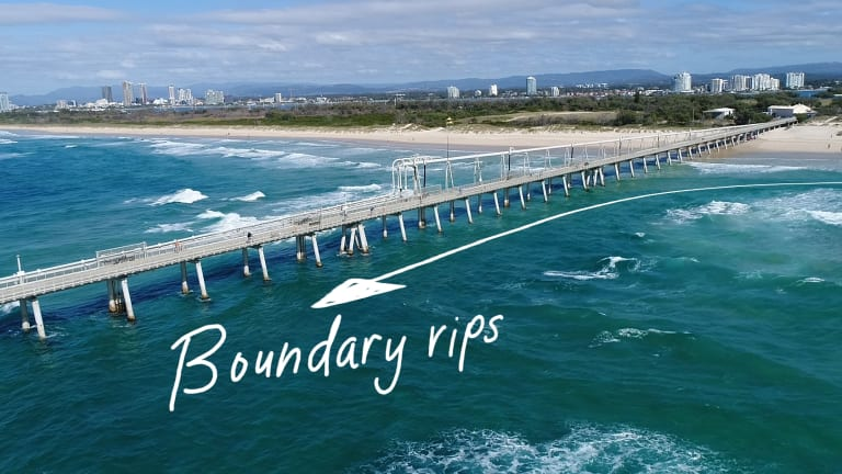 An image from the Jason Markland documentary on rip currents shows a typical boundary rip.