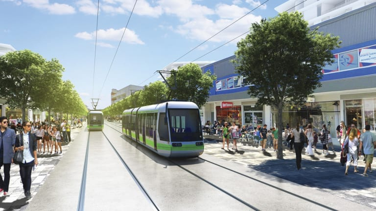 An artist's impression of the proposed Canberra light rail line.