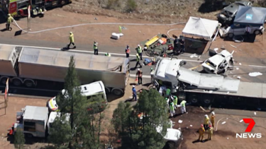The scene of the fatal truck crash on the Newell Highway near Dubbo.