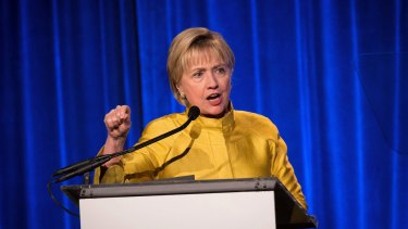 Former Secretary of State Hillary Clinton gives an acceptance speech for an award in New York.