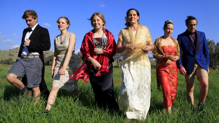 The cast of Hothouse Theatre company's <i>Between the Clouds</i> (from left) Lewis Stanley, Ayesha Harris-Westman, Georgie Currie, Christine Miles, Claudia Grenfell-Uijland and Paddy Brown.