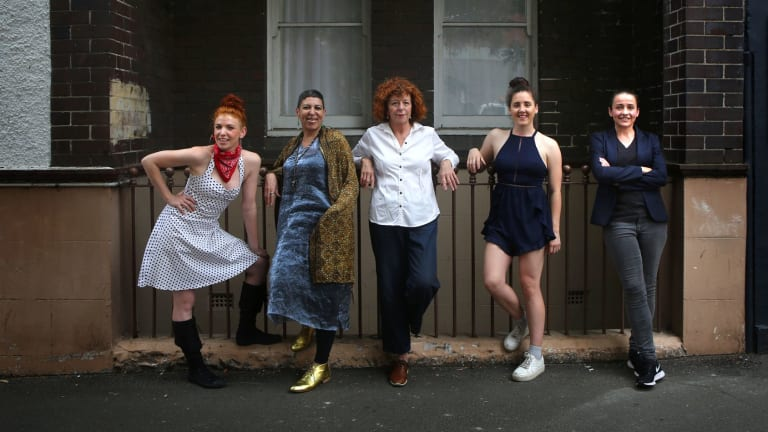 <i>Darlinghurst Nights</I>: Cast members Billie Rose Prichard (left), Natalie Gamsu, Katherine Thomson, Baylie Carson and Lee Lewis.