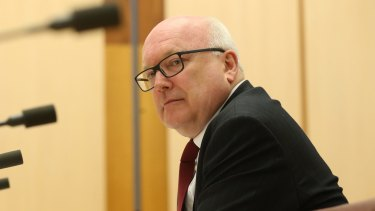 Attorney-General George Brandis at the Senate committee hearing.