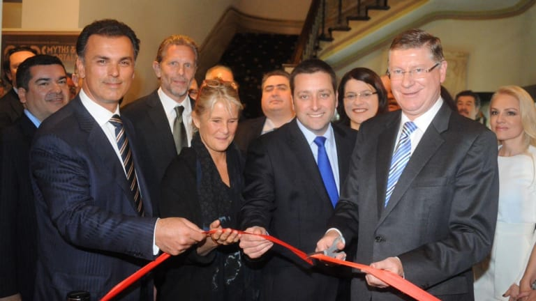 Harry Stamoulis (left) with former planning minister Matthew Guy and former Premier Dennis Napthine