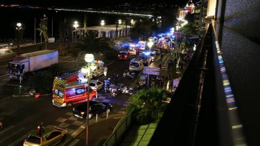 Emergency services at the Promenade des Anglais after the Nice attack.