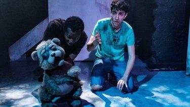 Actor Justin Amankwah gives voice to Edgar, the evil teddy bear, with Bardiya McKinnon.