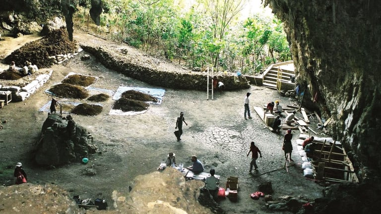 The cave on Flores, Indonesia, where Homo floresiensis was discovered by a team led by the late Mike Moorwood in 2003.