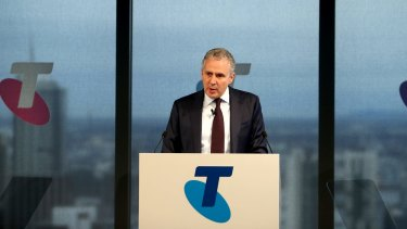 Telstra chief executive Andrew Penn announcing the full year results in Melbourne.