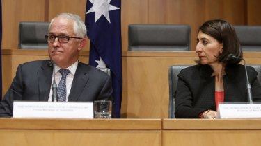 Prime Minister Malcolm Turnbull with NSW Premier Gladys Berejiklian at a COAG meeting last week.