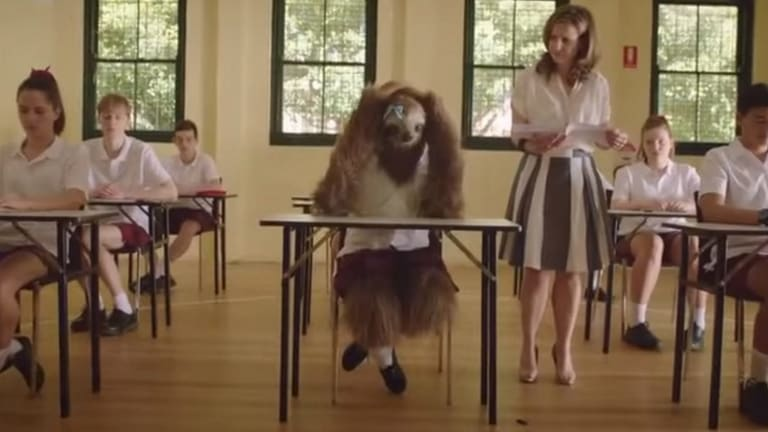 The anti-marijuana campaign depicts a stoned sloth failing in class.