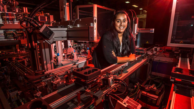 """RMIT student Tenisha Fernando says engineering is a """"full on"""" course but one she greatly enjoys."""