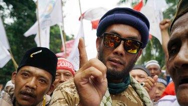 Anti-Ahok protester outside the blasphemy trial for Jakarta governor Basuki Tjahaja Purnama, who is universally known as Ahok.